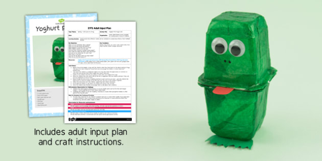 Yoghurt Pot Frog EYFS Adult Input Plan and Resource Pack - adult led, plan