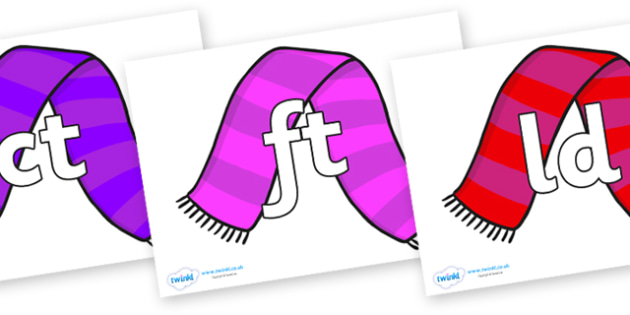 Final Letter Blends on Scarves - Final Letters, final letter, letter blend, letter blends, consonant, consonants, digraph, trigraph, literacy, alphabet, letters, foundation stage literacy