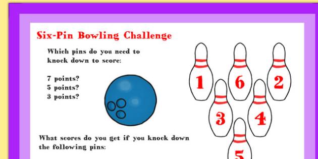 A4 KS1 Six Pin Bowling Maths Challenge Poster - maths, challenge