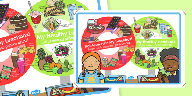 Healthy and Unhealthy Lunchbox Food Poster Romanian Translation - romanian, lunchbox, poster