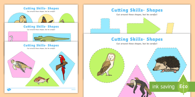 Cutting Skills Worksheets (Shapes) - Scissor skills, cutting, cutting worksheet, using scissors, cutting skills, fine motor skills
