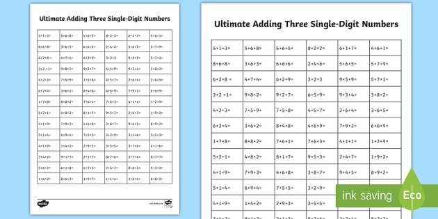 KS1 Ultimate Adding Three Single-Digit Numbers Worksheet / Worksheet ...