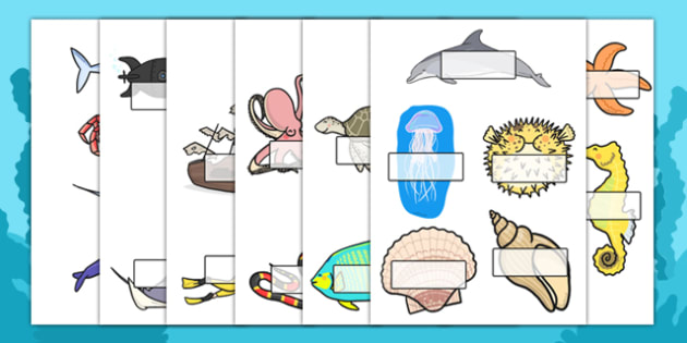 Editable Self Registration Labels (Under the Sea) - Under the sea, sea, seaside, display, editable, label, water, tide, fish, sea creatures, shark, whale, marine, dolphin, starfish, waves, sand