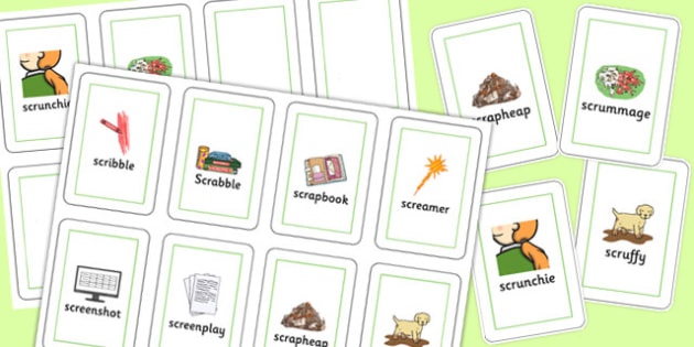 Two Syllable SCR Flash Cards - speech sounds, phonology, articulation, speech therapy, cluster reduction, complex clusters, three element clusters