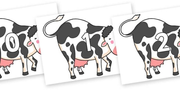 Numbers 0-100 on Hullabaloo Cow to Support Teaching on Farmyard Hullabaloo - 0-100, foundation stage numeracy, Number recognition, Number flashcards, counting, number frieze, Display numbers, number posters
