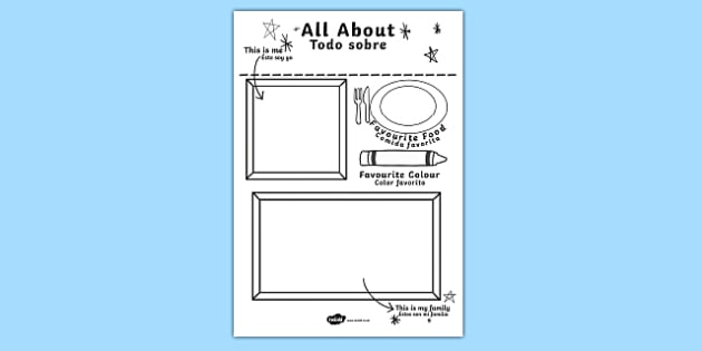 All About Me Colouring and Drawing Worksheet / Activity Sheet English/Spanish