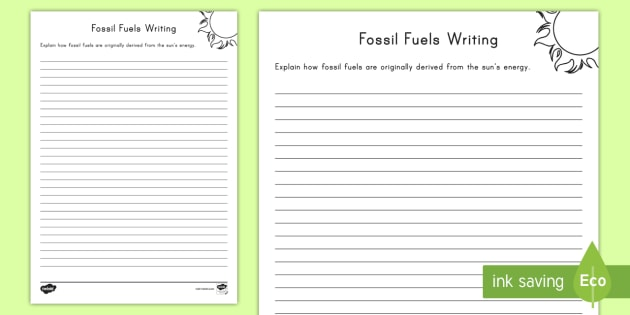 Formation of Fossil Fuels Writing Worksheet / Activity Sheet