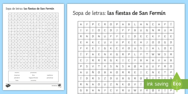 photo about Printable Spanish Word Search called San Fermin Festivities Phrase Look Worksheet / Worksheet