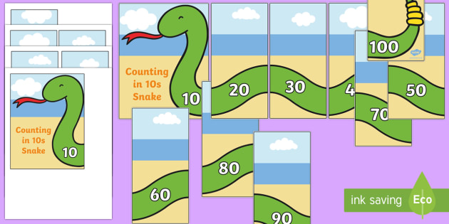 Counting 10s Snake Puzzles - counting aid, counting games, count