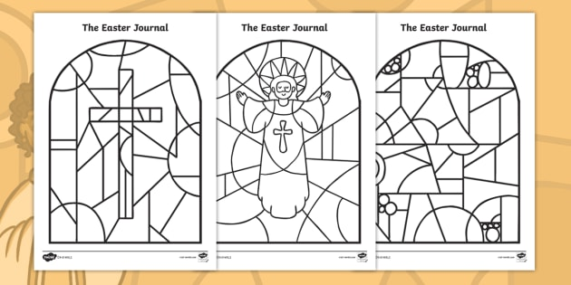 The Easter Journal: Stained-Glass Window Colouring Pages