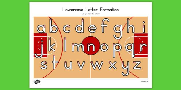 Basketball Themed Letter Writing Practice Worksheet - usa, nba, basketball, national basketball association, letter writing,practice, worksheet