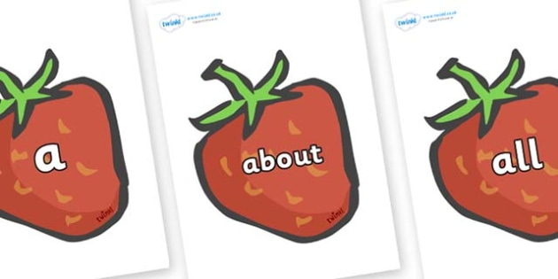 100 High Frequency Words on Strawberries - High frequency words, hfw, DfES Letters and Sounds, Letters and Sounds, display words