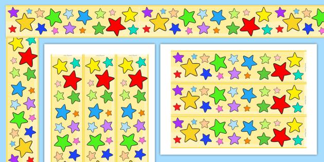 Multi Coloured Star Display Borders - stars, star display, border