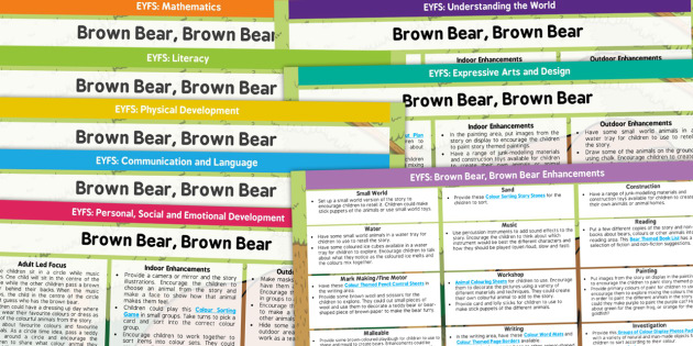 EYFS Lesson Plan and Enhancement Ideas to Support Teaching on Brown Bear Brown Bear - planning, brown bear brown bear, lesson plan ideas, lesson plans, lessons ideas, EYFS, themed lessons, EYFS lessons