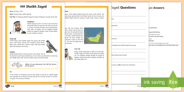 Sheikh Zayed  Differentiated Reading Comprehension Activity