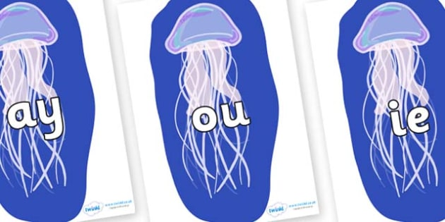 Phase 5 Phonemes on Jellyfish - Phonemes, phoneme, Phase 5, Phase five, Foundation, Literacy, Letters and Sounds, DfES, display