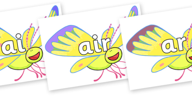 Phase 3 Phonemes on Yellow Butterfly to Support Teaching on The Crunching Munching Caterpillar - Phonemes, phoneme, Phase 3, Phase three, Foundation, Literacy, Letters and Sounds, DfES, display
