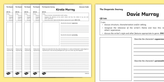 The Desperate Journey Character Profile Writing Frames - Highland Clearances, scotland, history, travel, adventure, literature, text, Scottish, cfe, curriculum for excellence, individuals,