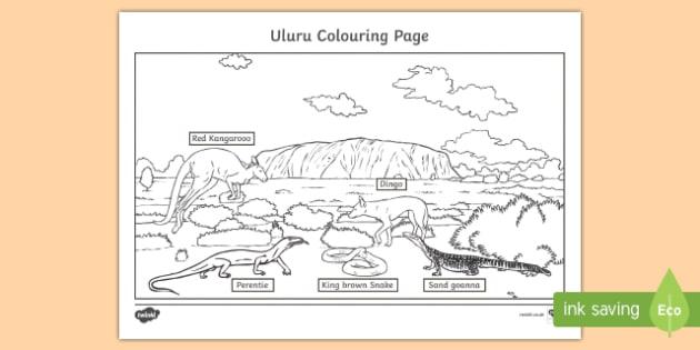 Uluru Colouring Page-Australia