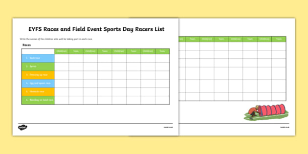 EYFS Races and Field Events Sports Day Racers List