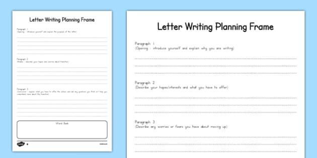 letter planning frame