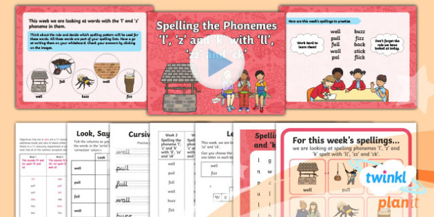 PlanIt Y1 Term 1A W2: 'll' 'zz' and 'ck' Spelling Pack