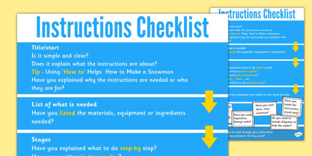 Instruction Check List Instructions Poster How To Write