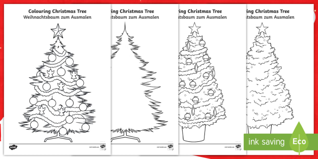 Christmas Tree Colouring Pages - English/German - EAL, german