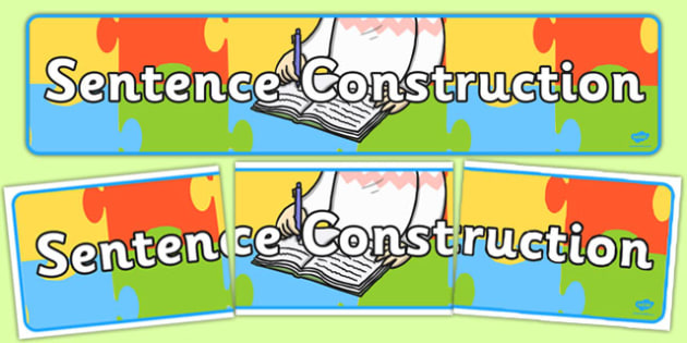 Sentence Construction Display Banner - banners, sentences, write