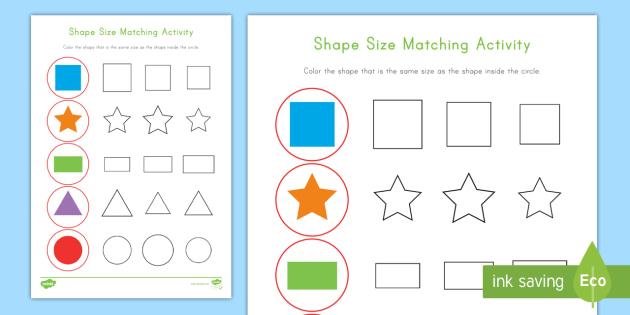 Shape Size Matching Activity Sheet