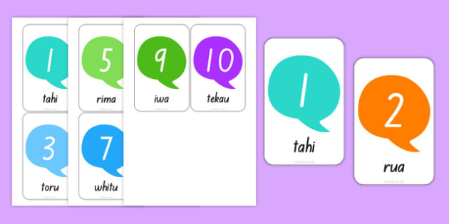 Numbers 1-10 Flash Cards Te Reo Māori - nz, new zealand, numbers, 1-10, flash cards, te reo māori