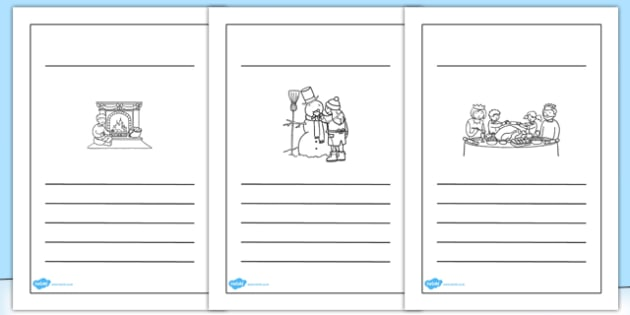 Winter Activities Writing Frames Lined BW - Seasons, Activity