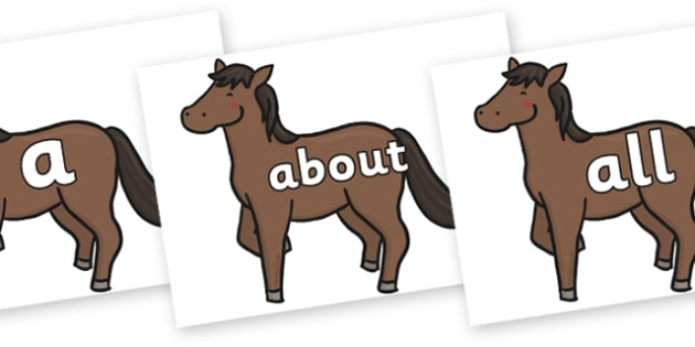 100 High Frequency Words on Chinese New Year Horse - High frequency words, hfw, DfES Letters and Sounds, Letters and Sounds, display words