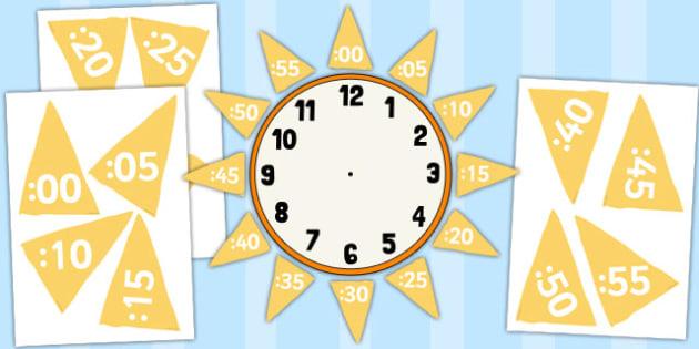 Analogue to Digital Clock Label Sun - analogue, digital, clock, label, sun