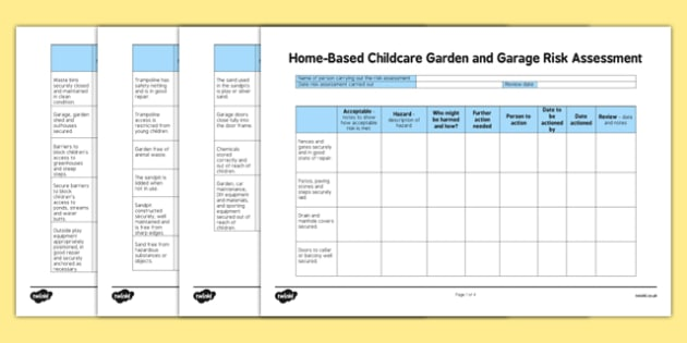 Home-Based Childcare Garden and Garage Risk Assessment