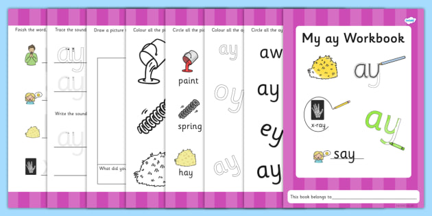 Phase 5 ay Grapheme Workbook - graphemes, phase five, phases, literacy, phonics, workbook, blends