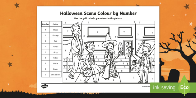 Halloween Scene Color By Number Activity Teacher Made