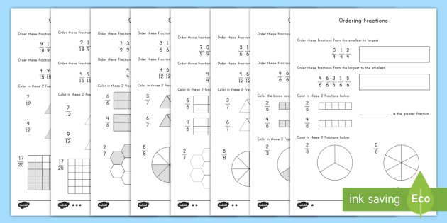 fraction ordering differentiated worksheet  worksheets  math  fraction ordering differentiated worksheet  worksheets  math fractions  fraction ordering comparing fractions