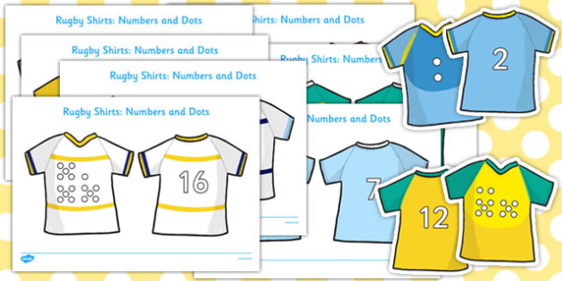 Numbers With Corresponding Dots On Rugby Shirts  - rugby, shirts