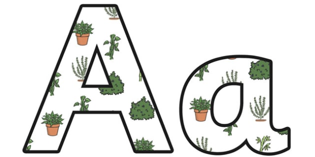 Green Plants Small Lowercase Display Lettering - green plants, green plants lettering, green plants display, green plants display letters, green plants ks2