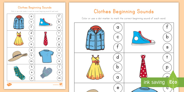 Clothes Beginning Sounds Worksheet / Activity Sheet