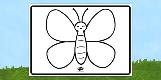 large butterfly outline eyfs early years minibeasts butterfly outline