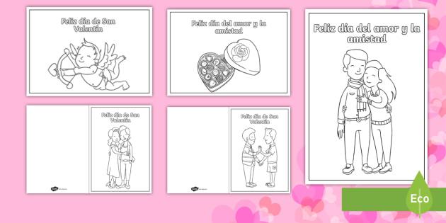 Tarjetas Para Colorear Día De San Valentin Día Del Amor Y La Amistad