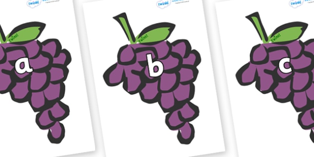 Phase 2 Phonemes on Grapes - Phonemes, phoneme, Phase 2, Phase two, Foundation, Literacy, Letters and Sounds, DfES, display