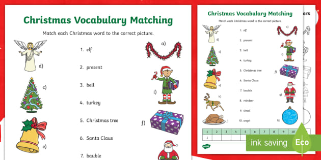 Christmas - English Vocabulary Matching Worksheet
