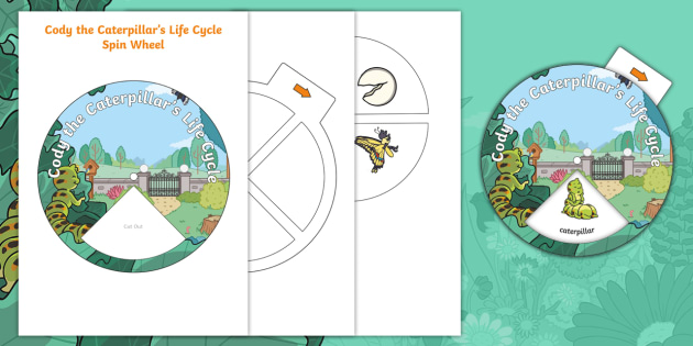 Cody the Caterpillar's Life Cycle Spin Wheel Activity