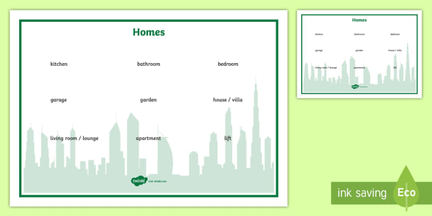Homes Word Mat - UAE, ADEC, MOE, speaking, listening, talking, talk, homes, houses