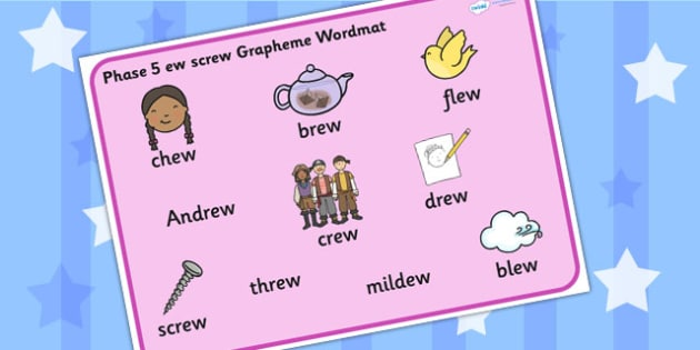 Phase 5 ew screw Grapheme Word Mat - phase five, graphemes, phase