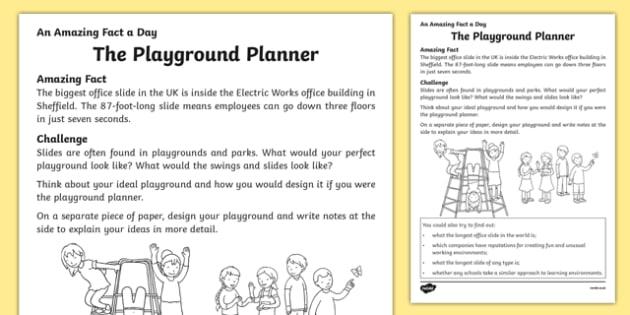 The Playground Planner Worksheet / Activity Sheet, worksheet