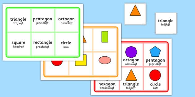 2D Shape Bingo Polish Translation - polish, 2d shape, bingo, activity, game, 2d, shape